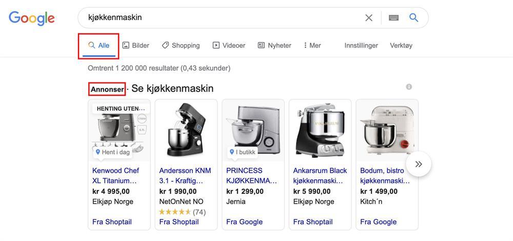 Google Shopping betalte annonser