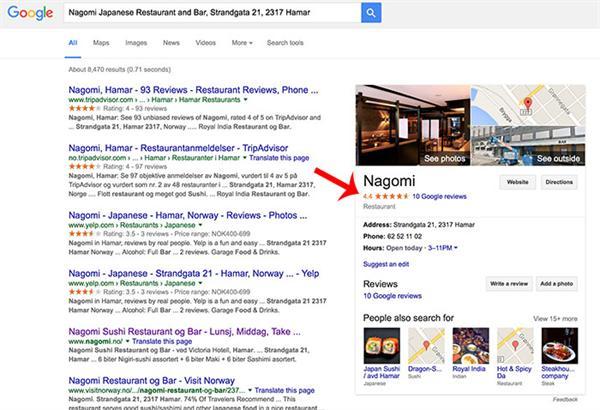Omtale på Google søkresultater side